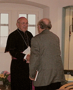 Auxiliary Bishop Helmut Bauer congratulates the jubilarian